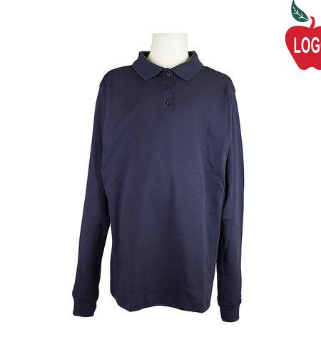 Elder Navy Long Sleeve Interlock Polo #7671