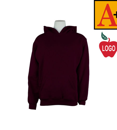 School Apparel A+ Wine Hood Sweatshirt #6246