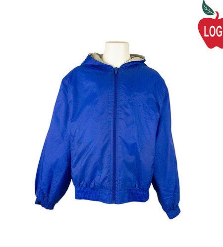 School Apparel A+ Royal Blue Hooded Nylon Jacket #6225