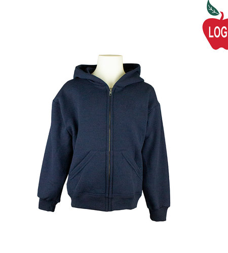 School Apparel A+ Navy Blue Zip Hood Sweatshirt #9247