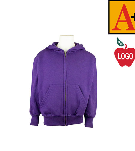 School Apparel A+ Purple Full Zip Hood Sweatshirt #6247