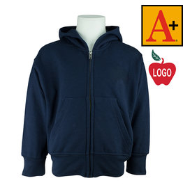 School Apparel A+ Navy Blue Zip Hood Sweatshirt #6247