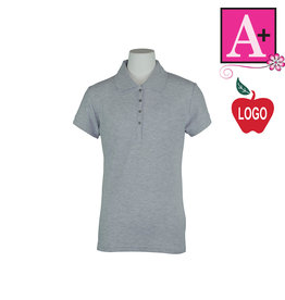 School Apparel A+ Grey Short Sleeve Pique Polo #9715