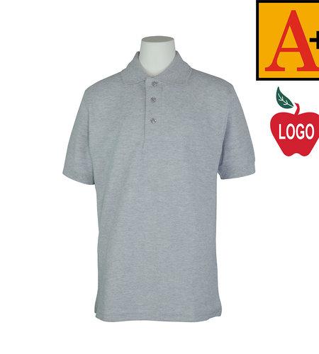 School Apparel A+ Grey Short Sleeve Pique Polo #8761