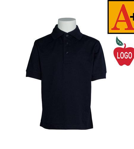 School Apparel A+ Navy Blue Short Sleeve Interlock #8320