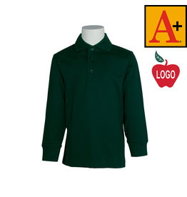 School Apparel A+ Green Long Sleeve Interlock Polo #8326