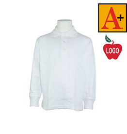 School Apparel A+ White Long Sleeve Interlock Polo #8434