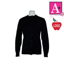 School Apparel A+ Navy Blue Cardigan Sweater #6000