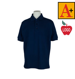 School Apparel A+ Dark Navy Short Sleeve Pique Polo #8761