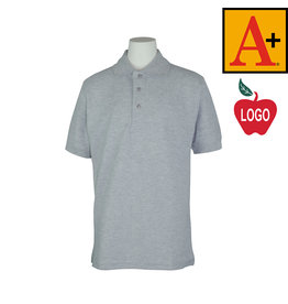 School Apparel A+ Grey Short Sleeve Pique Polo #8761