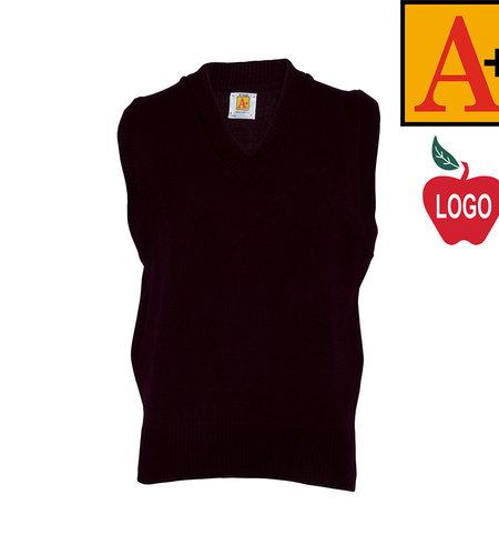 School Apparel A+ Wine Sleeveless Sweater Vest #6600