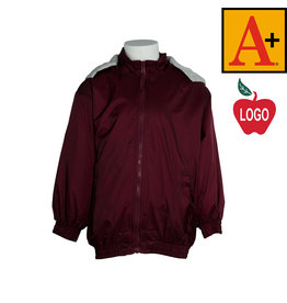 School Apparel A+ Wine Hooded Nylon Jacket #6225