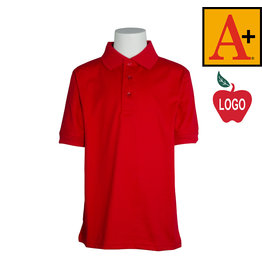 School Apparel A+ Red Short Sleeve Interlock Polo #8320