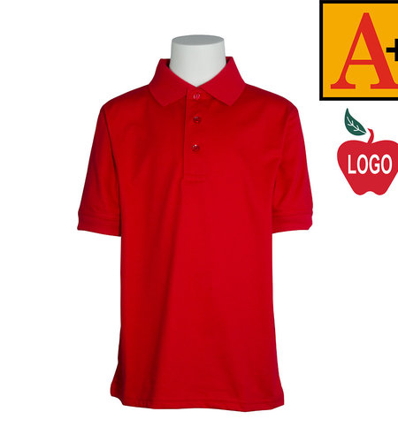 School Apparel A+ Red Short Sleeve Interlock Polo #8320