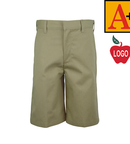 School Apparel A+ Khaki Plain Front Walk Shorts #7033M