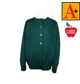School Apparel A+ Green Cardigan Sweater #6000