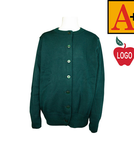 School Apparel A+ Green Cardigan Sweater #6000