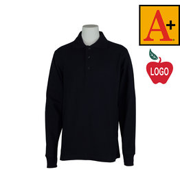 School Apparel A+ Dark Navy Blue Long Sleeve Pique Polo #8766