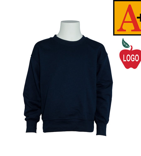 School Apparel A+ Navy Crew Sweatshirt #6254