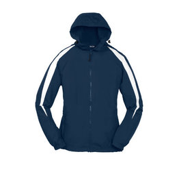 Sport-Tek Navy Hooded Nylon Jacket #JST81
