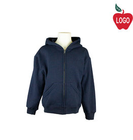 School Apparel A+ Navy Blue Zip Hood Sweatshirt #6247