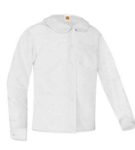 School Apparel A+ White Long Sleeve Peter Pan Blouse #9166