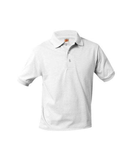 School Apparel A+ White Short Sleeve Interlock Polo #8320