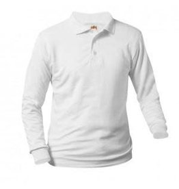 School Apparel A+ White Long Sleeve Interlock Polo #8326