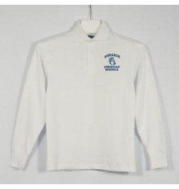 School Apparel A+ White Long Sleeve Interlock Polo #8326