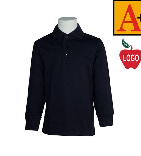 School Apparel A+ Dark Navy Long Sleeve Jersey Polo #8326