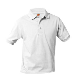 School Apparel A+ UNISEX WHITE BANDED SHORT SLEEVE JERSEY KNIT POLO SHIRT