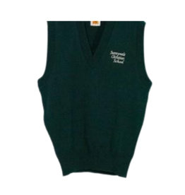 School Apparel A+ SUNNYVALE CHRISTIAN SCHOOL CLASSIC V-NECK PULLOVER VEST WITH EMBROIDERED LOGO