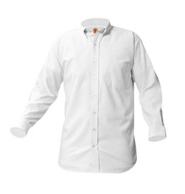 School Apparel A+ BOYS WHITE LONG SLEEVE OXFORD SHIRT WITH EMBROIDERED LOGO