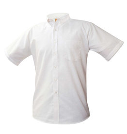 School Apparel A+ BOYS WHITE SHORT SLEEVE OXFORD SHIRT WITH EMBROIDERED LOGO