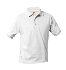 School Apparel A+ WHITE UNISEX BANDED SHORT SLEEVE JERSEY KNIT POLO SHIRT WITH LOGO