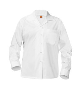 School Apparel A+ GIRLS WHITE LONG SLEEVE BROADCLOTH BLOUSE WITH POCKET WITH EMBROIDERED LOGO