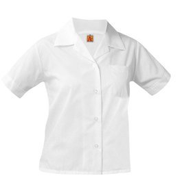 School Apparel A+ GIRLS WHITE SHORT SLEEVE BROADCLOTH BLOUSE WITH POCKET WITH EMBROIDERED LOGO