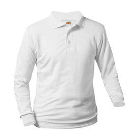 School Apparel A+ WHITE UNISEX BANDED LONG SLEEVE JERSEY KNIT POLO SHIRT WITH LOGO
