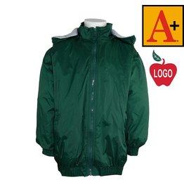 School Apparel A+ Green Hooded Nylon Jacket #6225