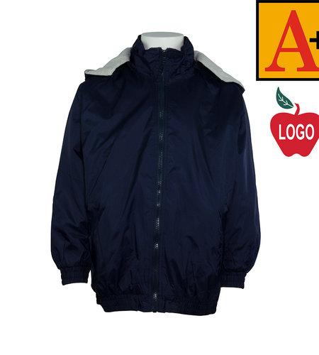 School Apparel A+ Navy Hooded Nylon Jacket #6225