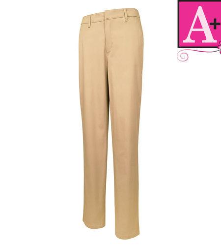 School Apparel A+ Girls Khaki Modern Fit Flat Front Pant #7895