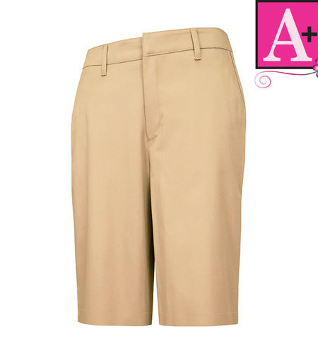 School Apparel A+ Girls Khaki Modern Fit Flat Front Short #7904