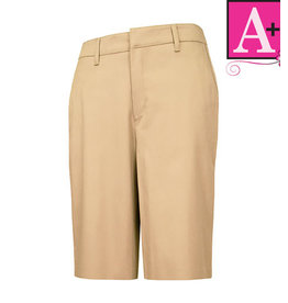 School Apparel A+ Junior Khaki Modern Fit Flat Front Short #7910