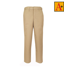 School Apparel A+ Boys Khaki Plain Front Stretch Pant #7893