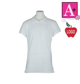 School Apparel A+ White Short Sleeve Pique Polo #9715