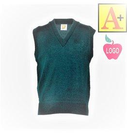 School Apparel A+ Green Sleeveless Sweater Vest #6600