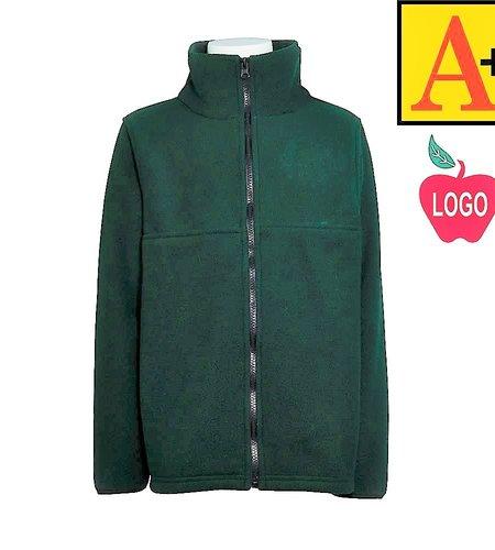 School Apparel A+ Green Fleece Full Zip Jacket #6202