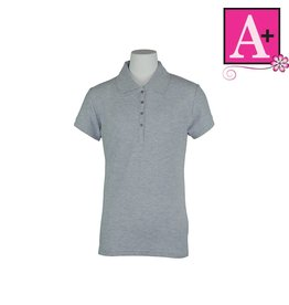 School Apparel A+ Ash Grey Short Sleeve Pique Polo #9715