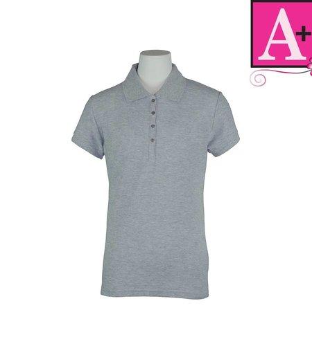School Apparel A+ Ash Grey Short Sleeve Pique Polo #9715