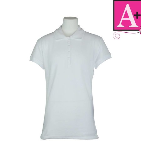 School Apparel A+ White Short Sleeve Pique Polo #9715
